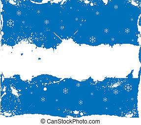 cadre, grunge, hiver, flocons neige