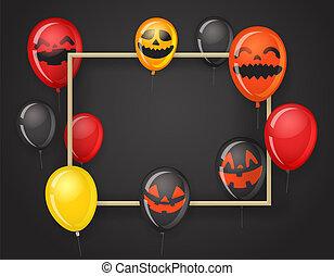 cadre, halloween, gabarit, fête, balloons., vide