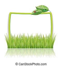 cadre, herbe, feuilles vertes