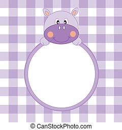 cadre, hippopotame, garçon