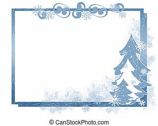 cadre, hiver arbre