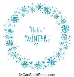 cadre, hiver, flocons neige
