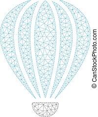 cadre, illustration, polygonal, vecteur, aérostat, maille