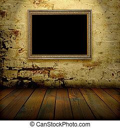 cadre, intérieur, vieux, mur