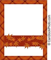 cadre, invitation, ton, automne, orange, message, ou