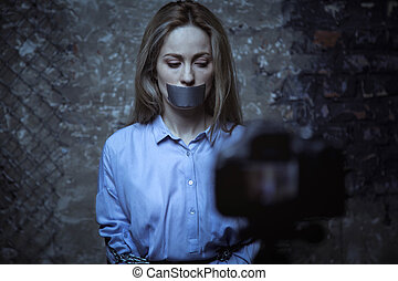 cadre, jeune, enregistrement, vidéo, impuissant, banque