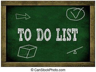 cadre, liste, bois, tableau vert, chalk., message, manuscrit