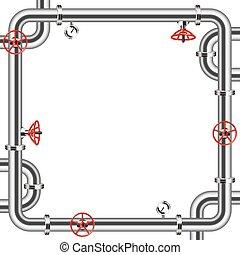 cadre, métal, isolé, fond, blanc, canaux transmission