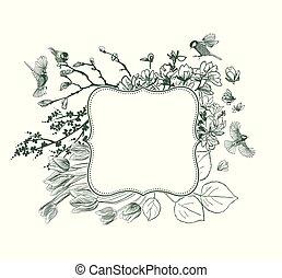 cadre, magnolia, victorien, vecteur, fond, oiseaux