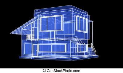 cadre maison, fil, modèle
