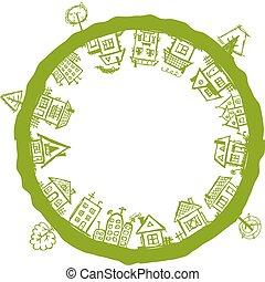 cadre, maisons, village, conception, ton, heureux