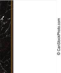 cadre, marbre noir, côté