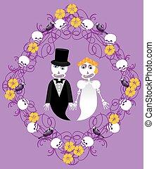 cadre, mariage, squelettes, entre
