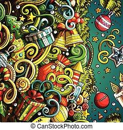 cadre, mignon, année, nouveau, heureux, doodles, dessin animé
