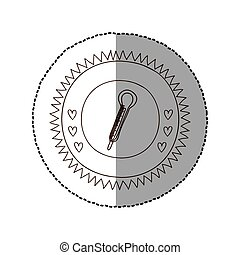 cadre, milieu, thermomètre, monochrome, ombre, autocollant, circulaire