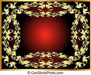 cadre, modèle, fond, gold(en)