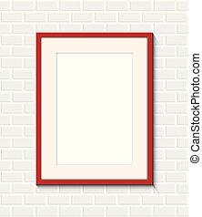 cadre mur, brique, rouges