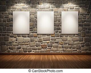 cadre, mur pierre