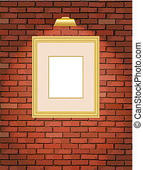 cadre mur, vieux, brique, or