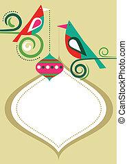 cadre, noël, oiseaux