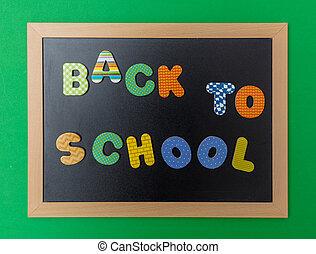 cadre, noir, école, fond, dos, bois, tableau, vert, coloré, mur, texte, lettres