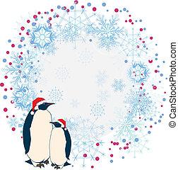 cadre, nouvel an, pingouins