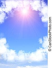 cadre, nuages, blanc