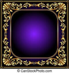 cadre, or, modèle, enroulement