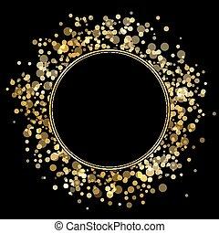cadre, or, scintillements, vecteur