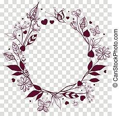 cadre, ornement, rond, arrière-plan., floral, feuilles, ...