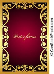 cadre, ornement, rouge foncé, or