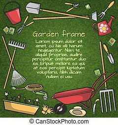 cadre, outils, jardin