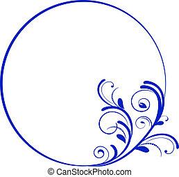 cadre, ovale, décoratif