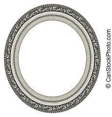 cadre, ovale, image, argent