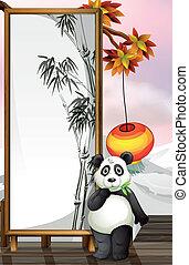 cadre, panda, bamboo-designed
