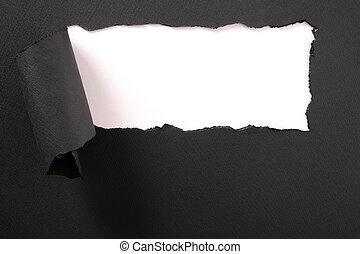 cadre, papier déchiré, arrière-plan noir, bande, blanc