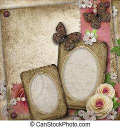 cadre, papier, fond, papillon, roses, félicitations, vendange, invitations