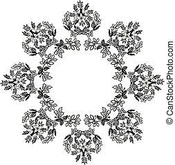 cadre, papier peint, illustration, vecteur, fond, floral, blanc