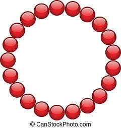 cadre, perles, rouges