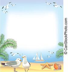 cadre, plage, mer