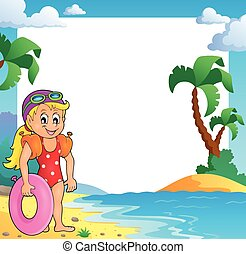 cadre, plage, thème, girl, nageur