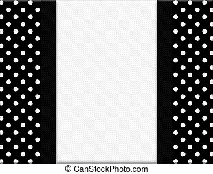 cadre, polka, noir, point, fond, ruban blanc