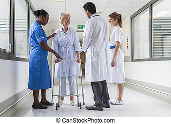 cadre promenade, patient, docteur, hôpital, femme, infirmière, personne agee