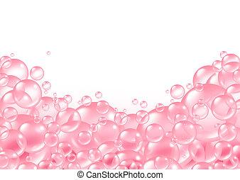 cadre, rose, bulles