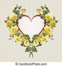 cadre, roses jaunes