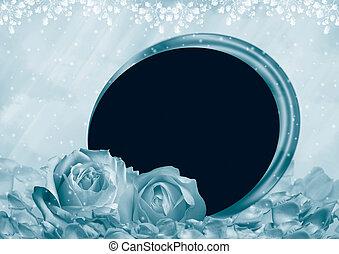 cadre, roses, photo