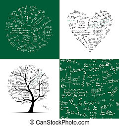 cadre, seamless, arbre, fond, collection:, math