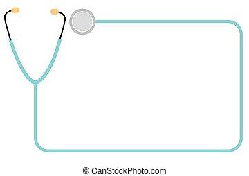 cadre, stéthoscope, vecteur, simple