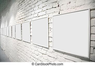 cadre, sur, mur brique