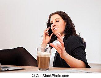 cadre, téléphone, quelqu'un, occupé, conversation
